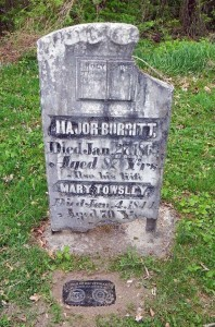 Inscription reads: Major Burritt, Died Jan. 27, 1863 Aged 87 Y'rs. Also his Wife Mary Towsley, Died Jan. 2, 1844 Aged 70 Y'rs. Photo courtesy Jim Patterson.