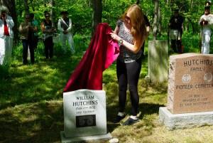 Gwen McCloskey unveils the Wm Hutchins plaque