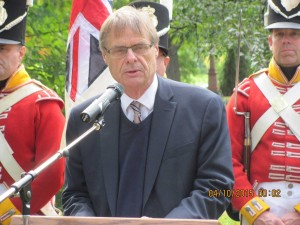 Mr. Hughes from the New Brunswick Museum brought the 104th Regimental colours to display them at the plaque ceremony.