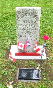 Burris Dell tombstone and Graveside Plaque