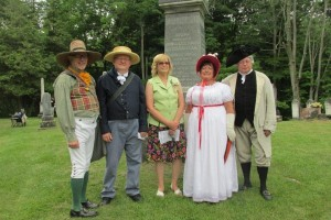 Some reenactors with Sandra Sales who wrote the biographies of the veterans.Photo courtesy of Brenda Corby