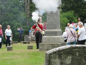 Three round salute at John Pearce grave. Photo provided by St. Peter's Anglican Church, Wallacetown Ontario