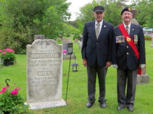 Robert Taylor (3X great grandson of Samuel Taylor) and Don McPherson, Belleville ON Royal Canadian Legion Branch 99,