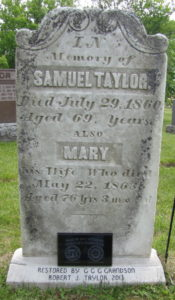 Samuel Taylor tombstone at Shannonville Riverview Cemetery, Shannonville ON with plaque.