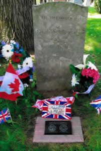 War of 1812 Graveside Plaque of Private Richard London at Stoney Creek Municipal Cemetery in Hamilton, Ontario.
