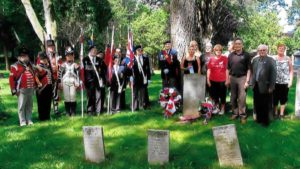 Attendees in the photo include Gigi McAndrews and fellow 2nd Lincoln Militia re-enactors,  Sgt. At Arms Ted Jabonski and members of the Royal Canadian Legion Battlefield Branch 622, MPP Paul Miller,  Councillor Doug Conley, and descendants of Private Richard London