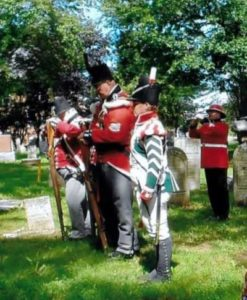 Bugler Cpl. Mike Barry and 2nd Lincoln Militia Re-enactors at the Graveside Recognition Ceremony of Private Richard London