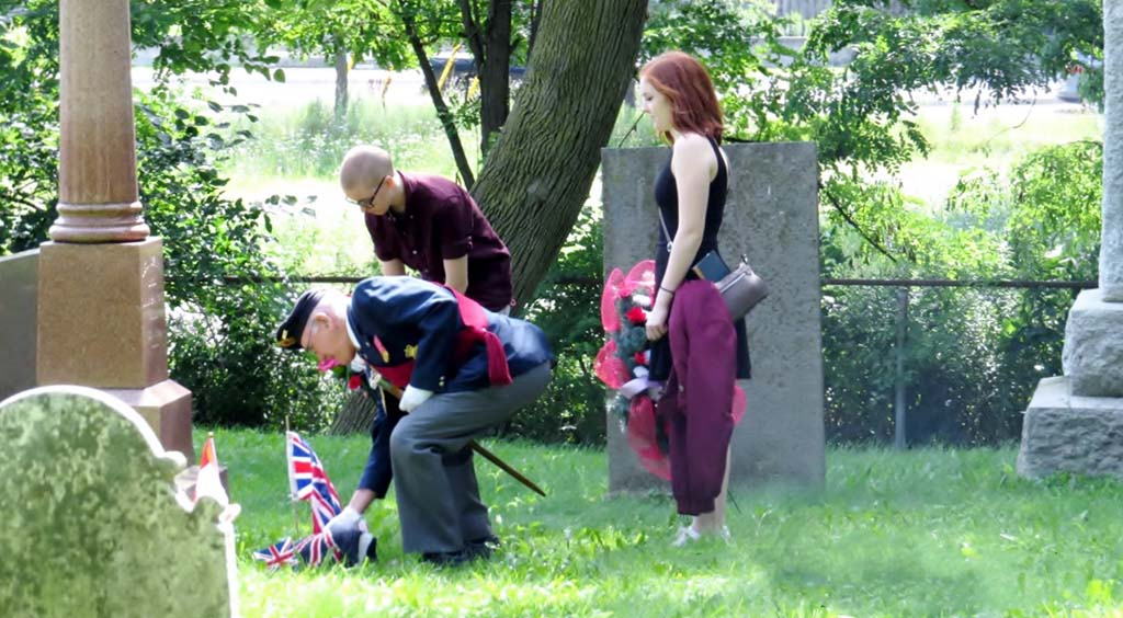Unveiling the Graveside War of 1812 Plaque by Sgt. at Arms Ted Jabonski of the Royal Canadian Legion Battlefield Branch 622 and laying of the wreaths by 5th great grandchildren of Levi Green.